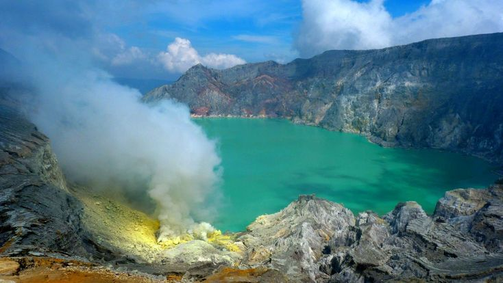 Kawah-Ijen volcano on Java  - crater lake with a high content of sulfuric acid