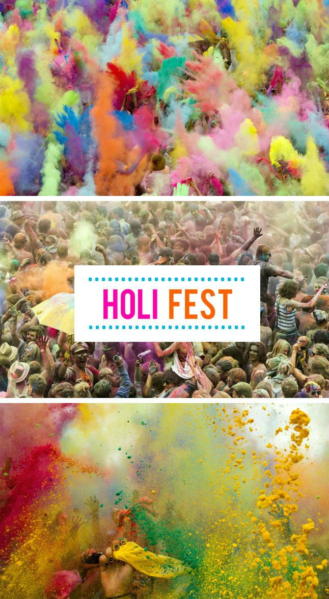 Holi Festival, India - a Hindu spring tradition where people throw brightly colored, perfumed powder at each other in celebration of spring.