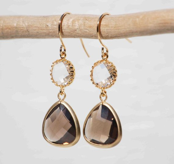 Iced Coffee Earrings Clear Crystal Smokey Quartz Bridal