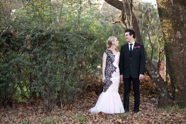 Pink and black lace wedding dress