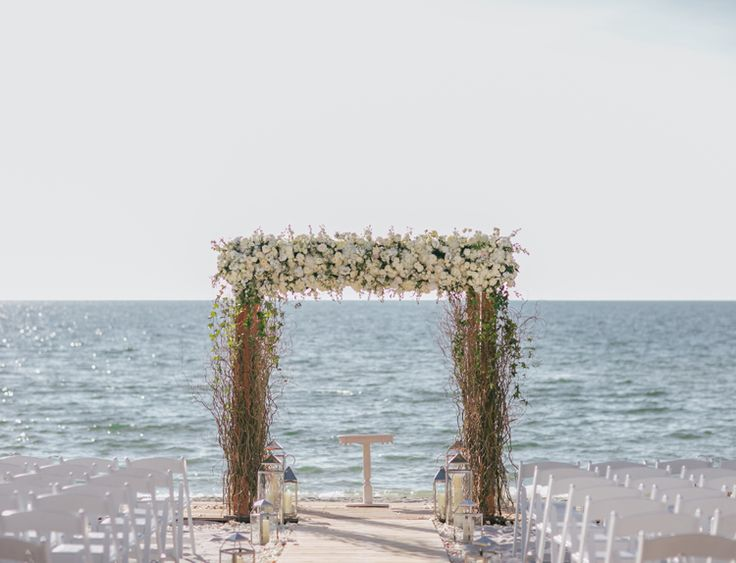 Luxurious beach wedding ceremony atthe Ritz Carlton Naples | Florida outdoor hotel wedding venues ballroom indoor (Clane Gessel Photography)