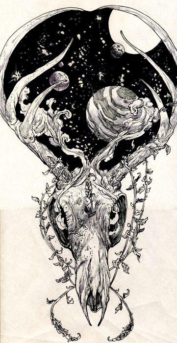primal, natural, nature, skull, tattoo, drawing, space,