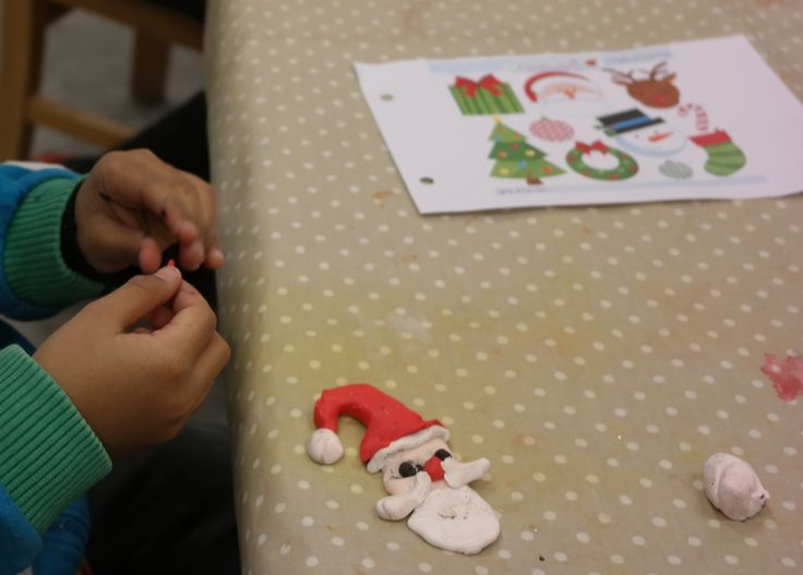 For Christmas our class made ornaments out of Fimo Clay that you can bake in a regular oven and make hard. I always provide  pictures for the children to look at and get ideas from. They always have better results when they do their work after observing something as a model.
