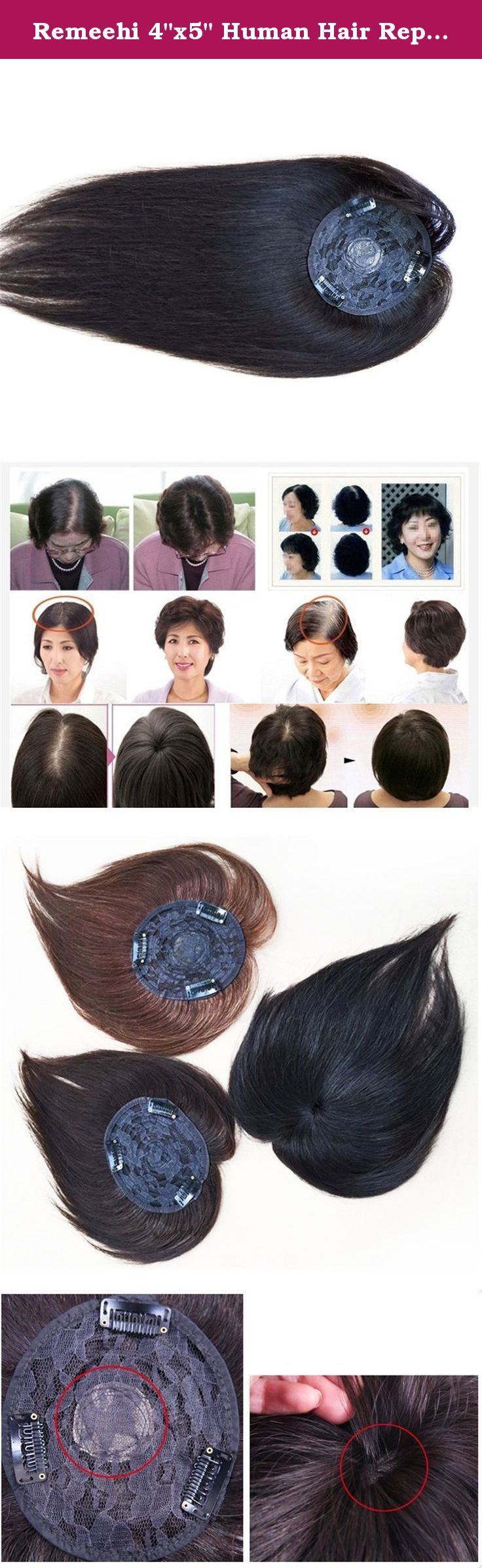 """Remeehi 4""""x5"""" Human Hair Replacement Clip In Hair Top Piece Extensions Seamless Hand Made Tied Hair Topper Hairpiece Thicken(30cm/12"""" Natural Black). Hair type:straight Human Hair topper Texture: straight Hair color: natural black;dark brown; light brown Base material: Imported Net Base size: 11*12cm . ."""