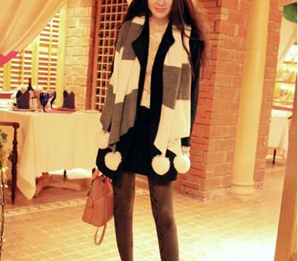 Splicing Contrast Color Knitting Wool Long Striped Scarf