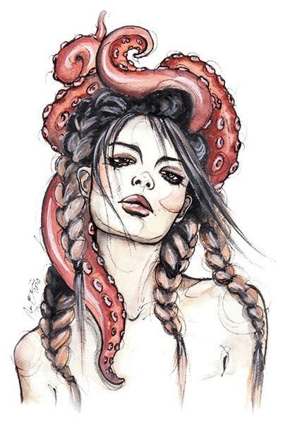 Mermaid Hair with Octopus - Sea witch, braids watercolor art