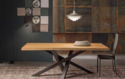 Riflessi tavolo Shangai - Shangai con piano in legno grezzo