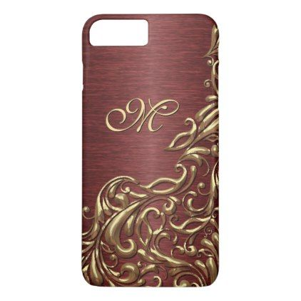 Custom Faux Shiny Gold Floral Swirl Pattern iPhone 8 Plus/7 Plus Case - vintage gifts retro ideas cyo