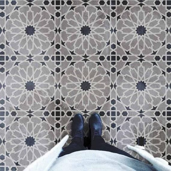 Reusable Stencil for Floors SMALL Tile Stencil Wall Tiles Stencil for Painting Concrete Lamintate Floor GIBRALTAR Moroccan Tile