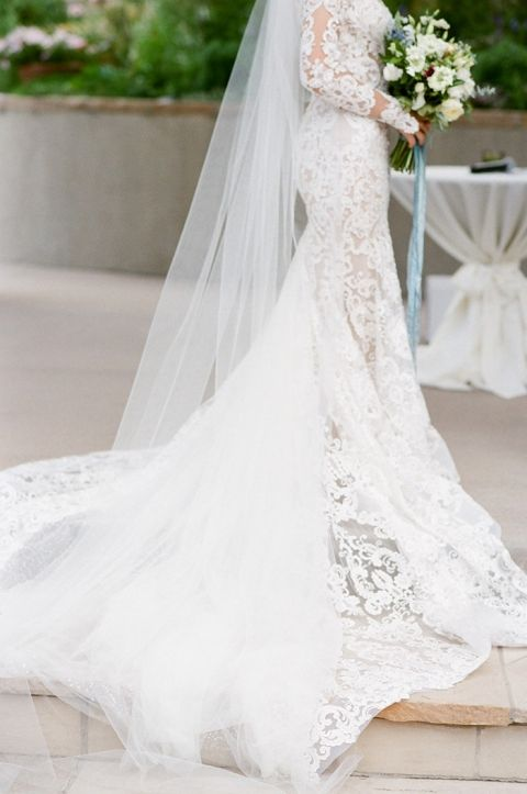 Glamorous Lace Wedding Dress with a Long Train and Cathedral Veil