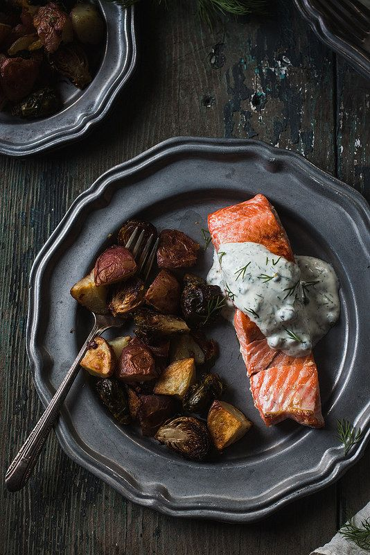 Coho Salmon with Dill Caper Sauce and Garlic Roasted Redskins and Brussels Sprouts from Will Cook for Friends is perfect for a weeknight dinner.