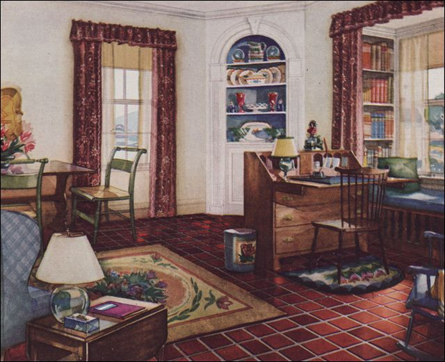 1931 Traditional Style Living Room Armstrong Linoleum 1930s Interior Design H Midcentury