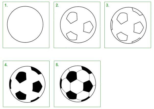 Voetbal. Leer hoe je stap voor stap zelf een voetbal kunt tekenen. #tekenen #tekening #knutselen #kleuren #voetbal #bal #schoolwiz