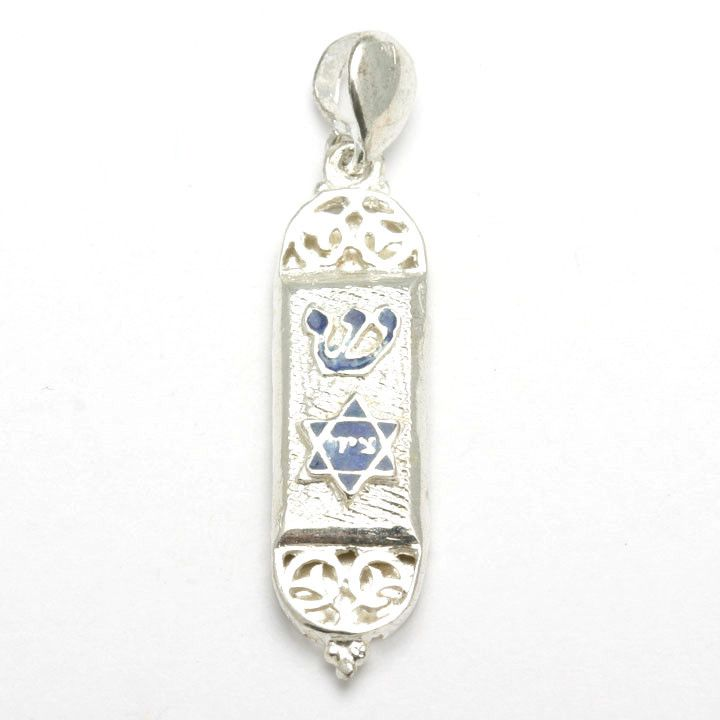 35 best mezuzah images on pinterest jewish gifts jewish jewelry sterling silver mezuzah pendant blue enamel star mozeypictures Images