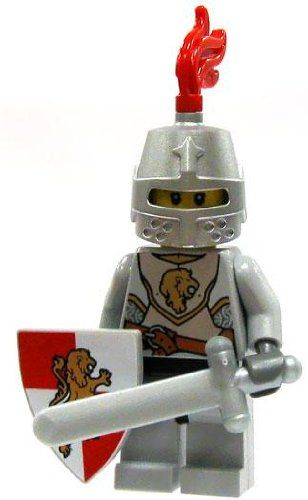LEGO Kingdoms LOOSE Red Kingdom Mini Figure Lion Knight Sword Small Shield  Great Helm * More info could be found at the image url.