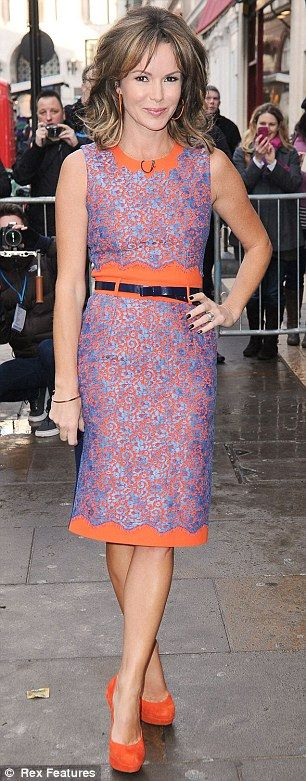 Amanda Holden in Preen dress London at Britain's Got Talent auditions.    Get the look for less at http://mikali.co.uk/marina-black-lace-overlay-pencil-dress.html