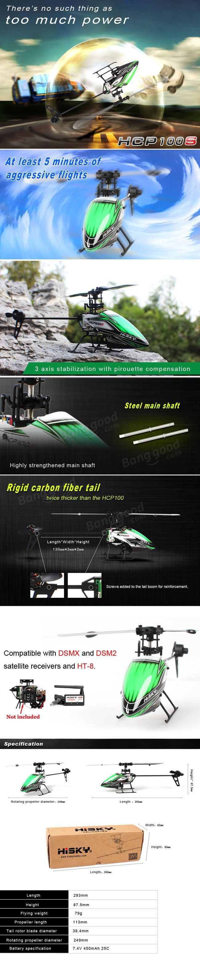 Hisky HCP100S 6CH 3 Axis Gyro Dual Brushless RC Heli+HT8 Adapter