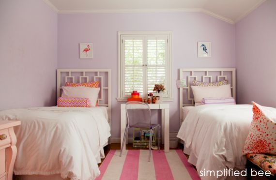 pink & purple shared girls bedroom // Simplified Bee