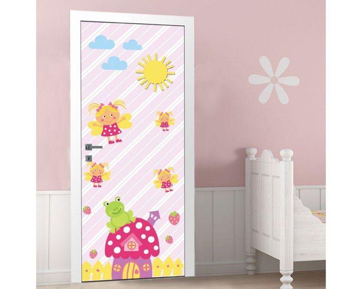 Φραουλόσπιτο και μελισσούλες ,αυτοκόλλητο πόρτας παιδικό , δείτε το!