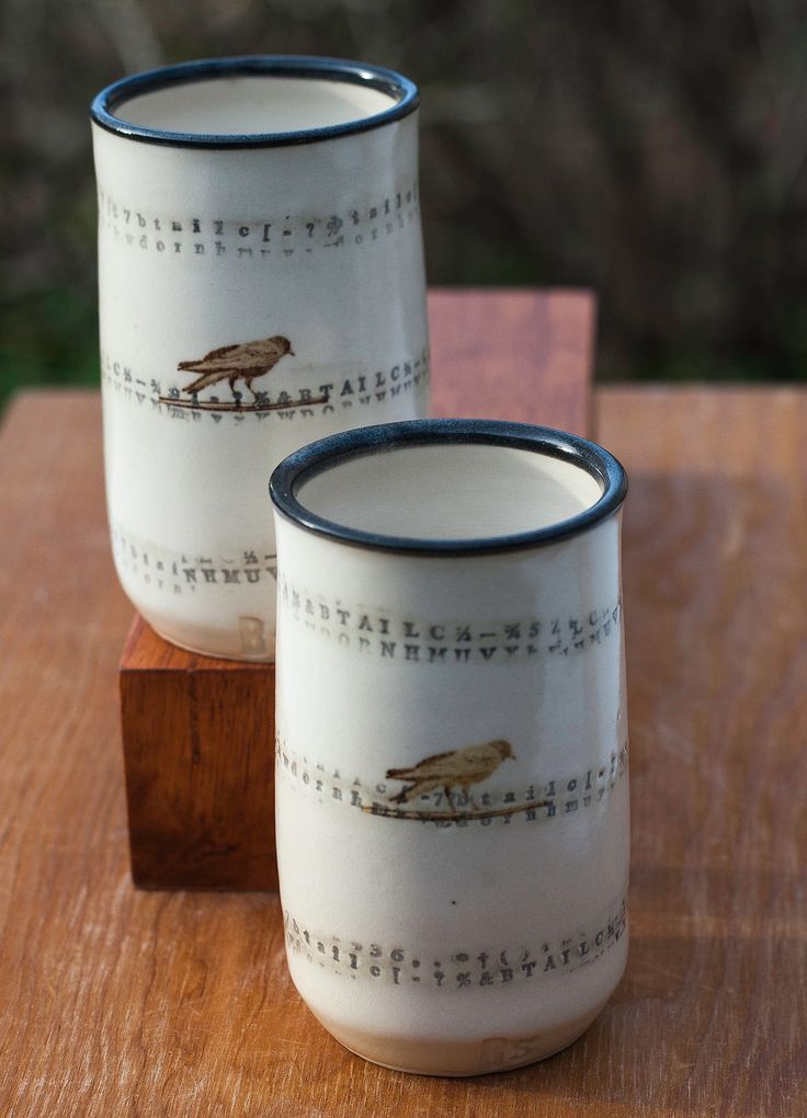 This collection is inspired by the words of Poe. The name Poe is stamped into the 'spirit' cup using reclaimed letterpress. Letters swirl around the cups in a random pattern. Only once have I had to explain the connection between Poe and the raven, Nevermore! Hopefully you will enjoy using the Poe Spirit Cups while reading The Raven.The price is for the set of two pictured.These are dishwasher and microwave safe.