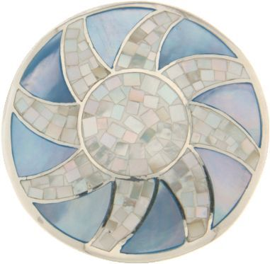 MY iMenso Silver & Rodium Plated Sun Shell Mosaic Coin