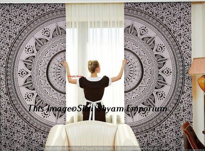Indian Black White Omber Mandala Balcony Curtains Door Window Curtain 2 Valances #Handmade #Traditional