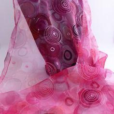 """Etole écharpe foulard en mousseline de soie peint main """" rose passion """""""