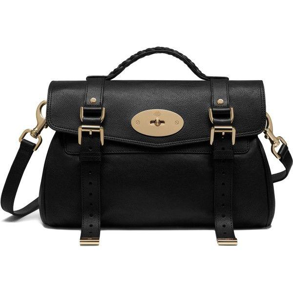 Mulberry Alexa ($1,640) ❤ liked on Polyvore featuring bags, handbags, black, strap purse, black handbags, mulberry handbags, mulberry bag and satchel purse