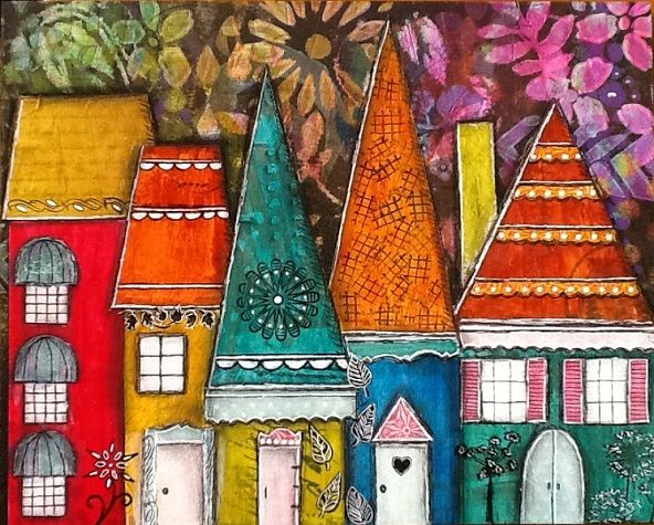 Original artwork, colorful collage, charming, whimsical houses on 8″ X 10″ Masonite. Created by Cyndi Cesare. Signed and dated on back. To create this piece, I used decorative papers, acrylic paint, and alcohol inks on a masonite board. 8″ X 10″. Sealed with archival varnish. Ready to hang or it would look nice sitting in …