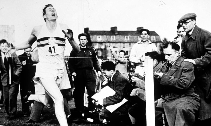Roger Bannister turns clock back 60 years and still feels the thrill breaking the mile record!! Bannister, a 25-year-old medical student, had become the first to break through the four-minute barrier with a time of 3min 59.4sec. -  Roger Bannister breaking the world mile record and the four-minute barrier at Iffley Road Track in Oxford on 6th May 1954. Photograph: Getty Images