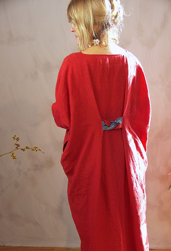 New Astrid Dress, £295, linen in various colours.  Belt detail. Great way to take out a little fullness.