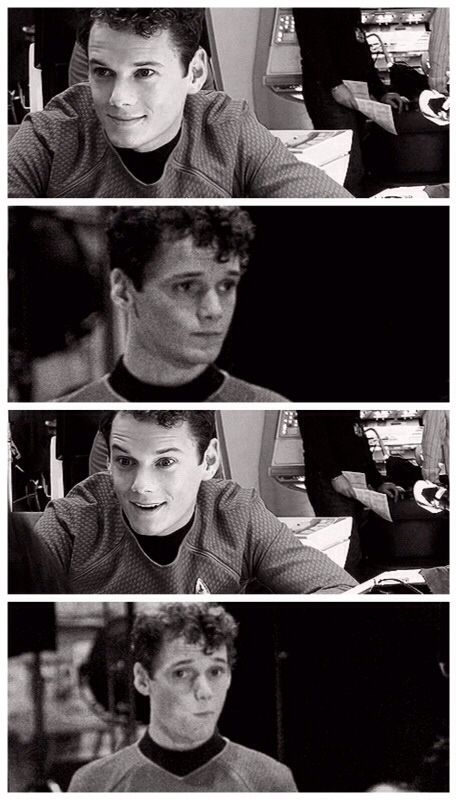 Pavel chekov is adorable. anton yelchin is taking over my life.