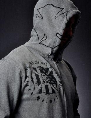 Skulls and Stripes Forever Zippered Hoody- Black Helmet Firefighter Apparel