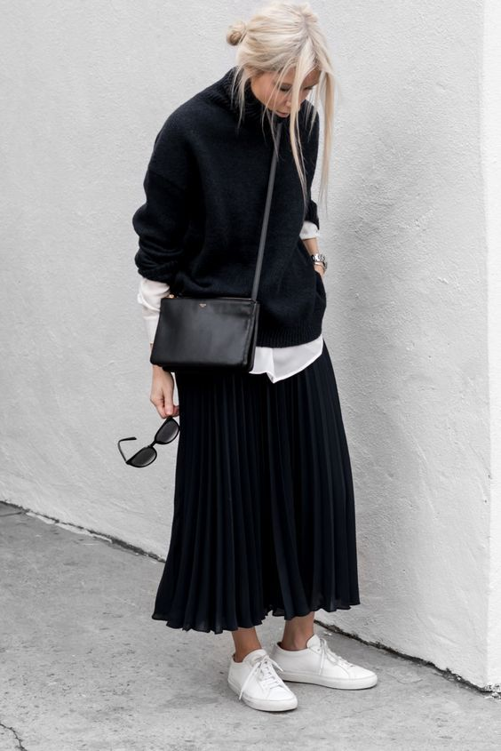 Black; sweater; dress; casual outfit
