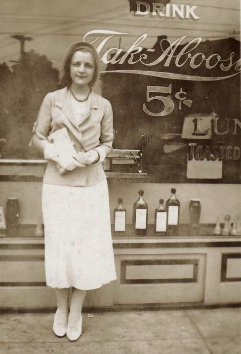In Front of The Drug Store ~ gorgeous candid photo c.1934