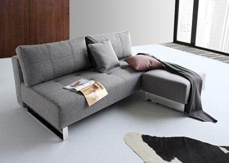 canape lit epais et confortable bleu ou gris avec pieds en metal chrome supremax par innovation - Canape Lit Confortable