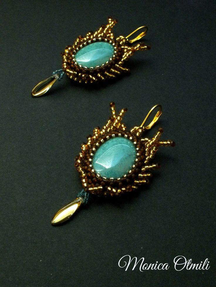 'Calaquendi' earrings by Monica Otmili  #elves #elf #tolkien #middleearth #fantasy #earrings #costume #valinor #beaded #beadwork #noble #jewelry