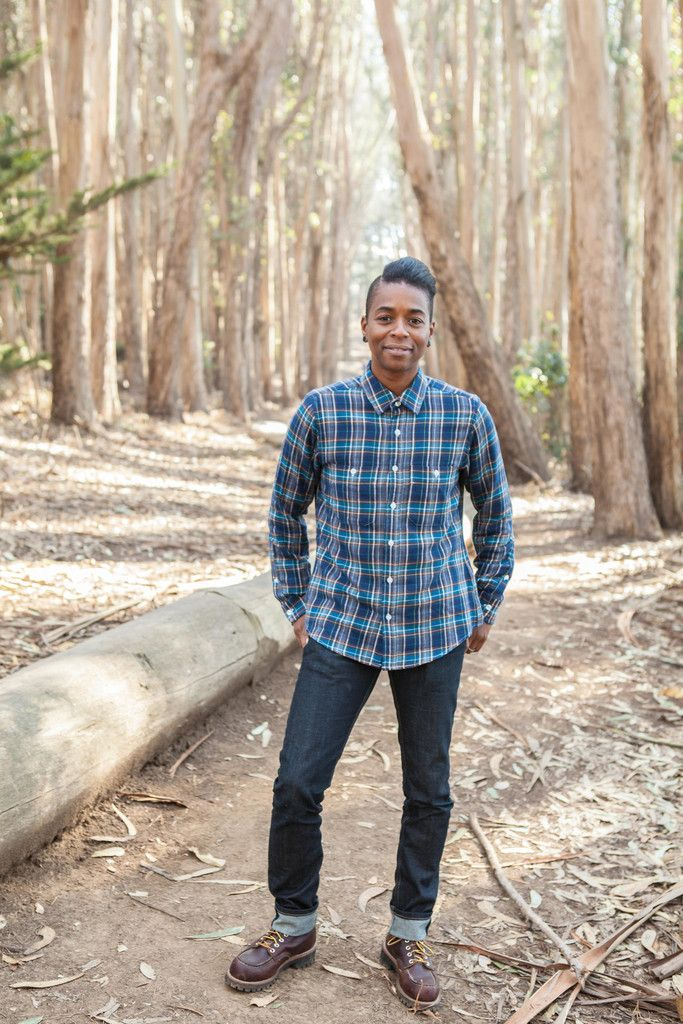 Androgyny Women's Tahoe Blue Flannel Button-down Shirt