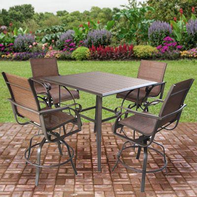 Delightful Patio Furniture | Sunflower Aluminum Sling High Dining Patio Set   American  Sale