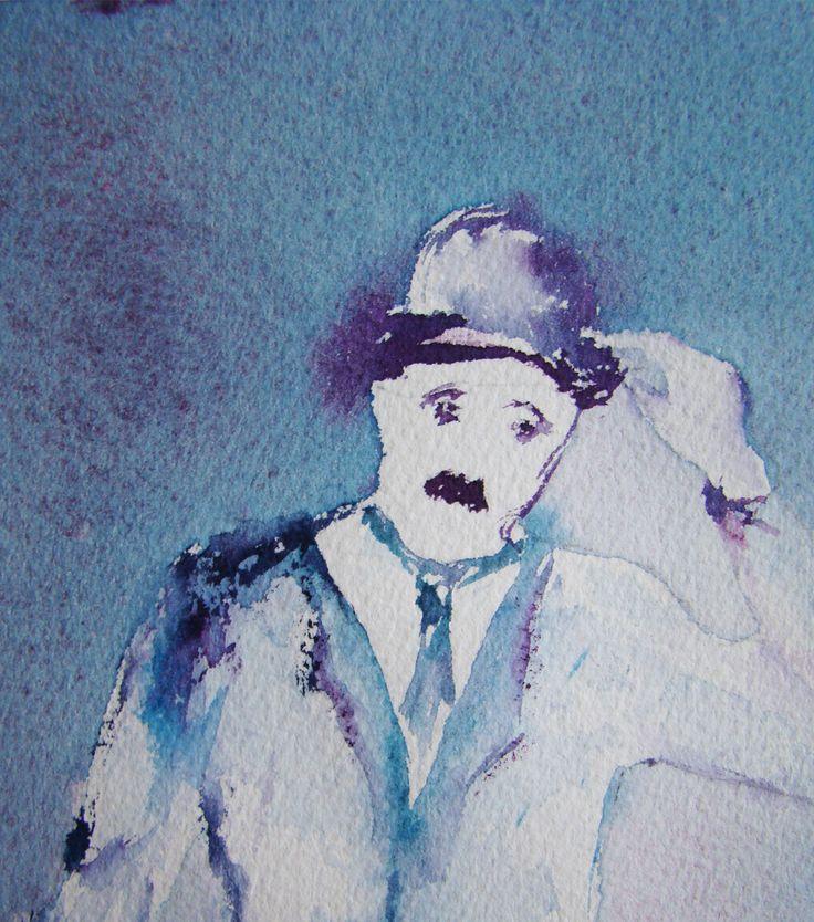 Aquarelle CHARLOT fond bleu avec passe-partout blanc : Décorations murales par blebys
