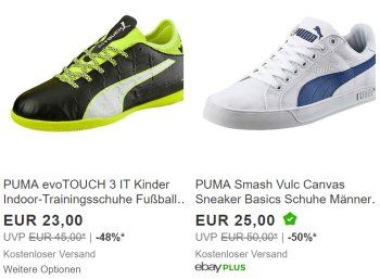 Puma: Sale bei Ebay mit bis zu 50 Prozent Rabatt und Gratis-Versand https://www.discountfan.de/artikel/klamotten_&_schuhe/puma-sale-bei-ebay-mit-bis-zu-50-prozent-rabatt-und-gratis-versand.php Ab sofort und nur für eine Woche läuft bei Ebay ein Puma-Sonderverkauf mit Preisabschlägen von bis zu 50 Prozent – Kinder-Sneaker sind schon für 20 Euro frei Haus zu haben, Modelle für Erwachsene ab 25 Euro. Puma: Sale bei Ebay mit bis zu 50 Prozent Rabatt und Gratis-Versan
