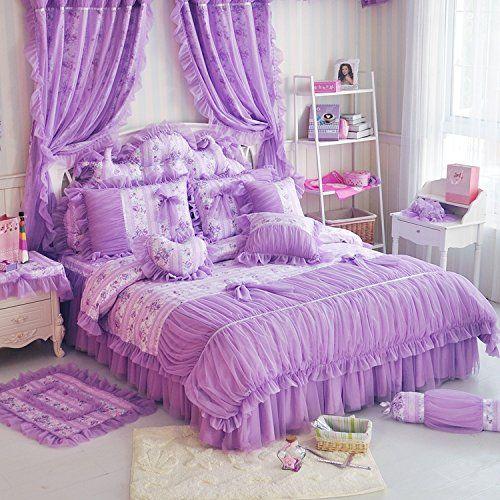FADFAY Home Textil, Romantische Europäischen, Rustikaler Vintage-Stil, Set, Einzigartiges Korean Rüschen Und Spitze Bettwäsche Princess, Violett, Vanillegelb, baumwolle, Queen
