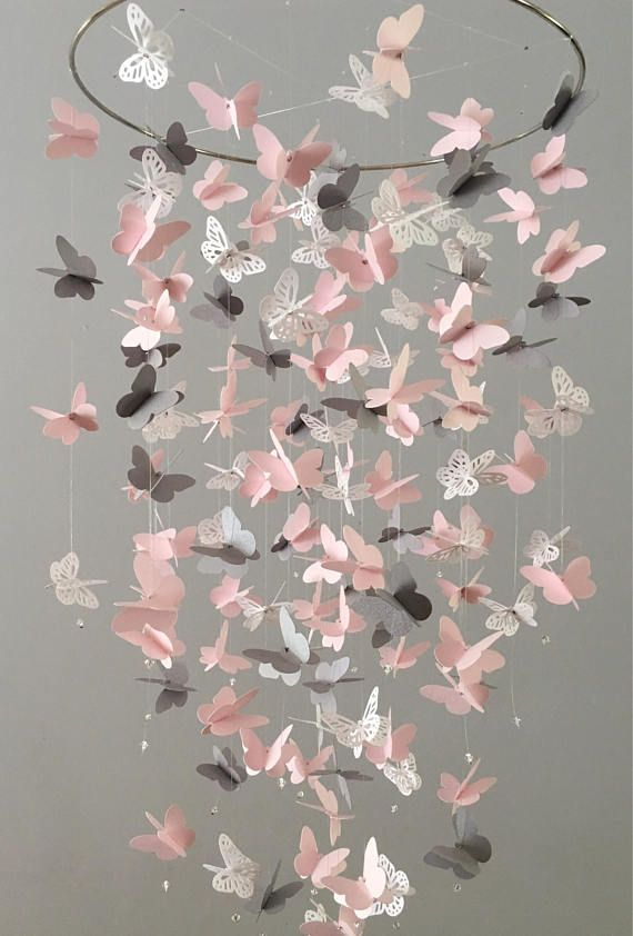 Butterfly Chandelier Mobile, in pink, gray and white-mostly solid butterflies, shower gift, nursery mobile, baby girl mobile, baby mobile