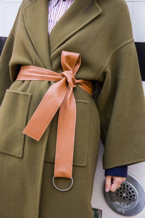 Belted coat | gorgoeus Green & Peach Combo