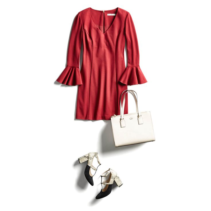 I love red dresses paired with black shoes that have a white accent. I love the v-neck dress, the sleeves and shape. I want the entire look - dress, shoes and bag. My sorority colors are crimson and cream. This is the exact outfit I would wear to an event. Love!