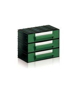 Cassetti In Plastica Componibili.Cassettiera In Plastica Componibile 3 Cassetti Verdi