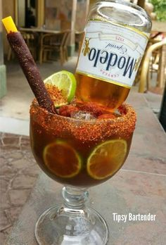 Michelada Spicy Cocktail Supreme - For more delicious recipes and drinks, visit us here: www.tipsybartender.com
