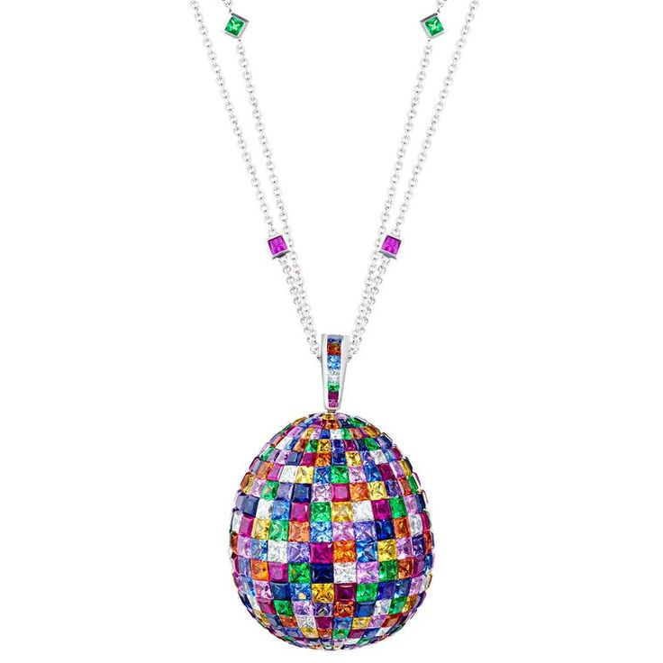 The Fabergé Mosaic Egg pendant has invisible-set, princess-cut sapphires, rubies, tsavorites and white diamonds