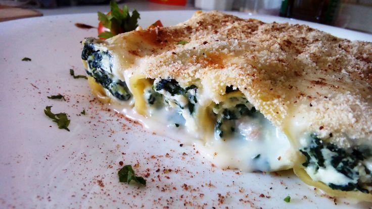 Canelones de espincas y queso - Canelones requesón y espinacas - Cannelloni ricotta e spinaci