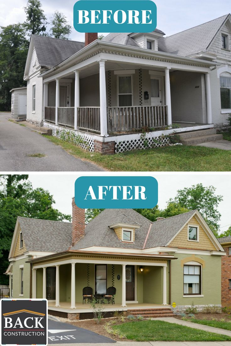 Office remodel, exterior remodel, porch, before & after, exterior construction, green exterior, painted brick